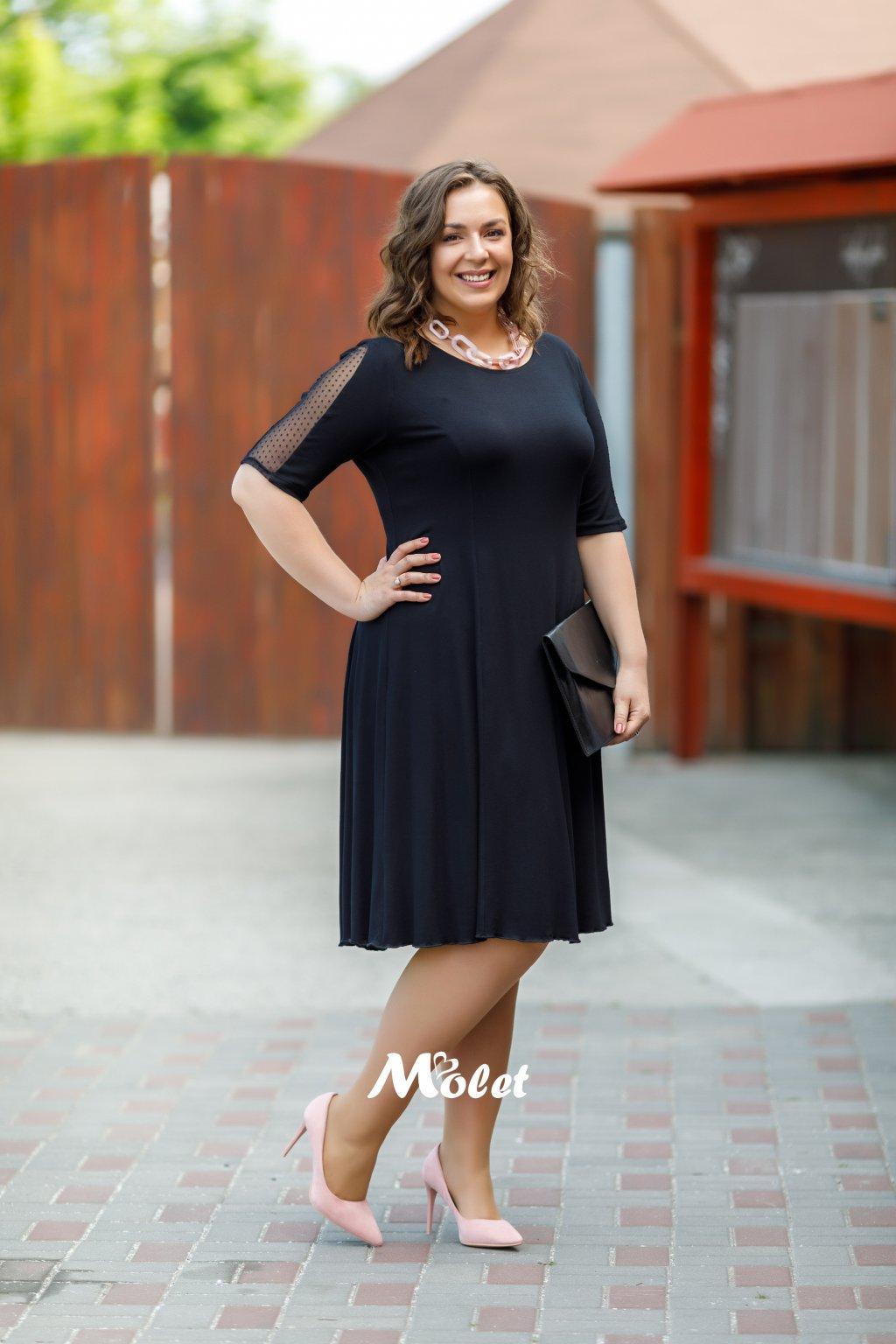 Zoe černé šaty s ozdobnými rukávy