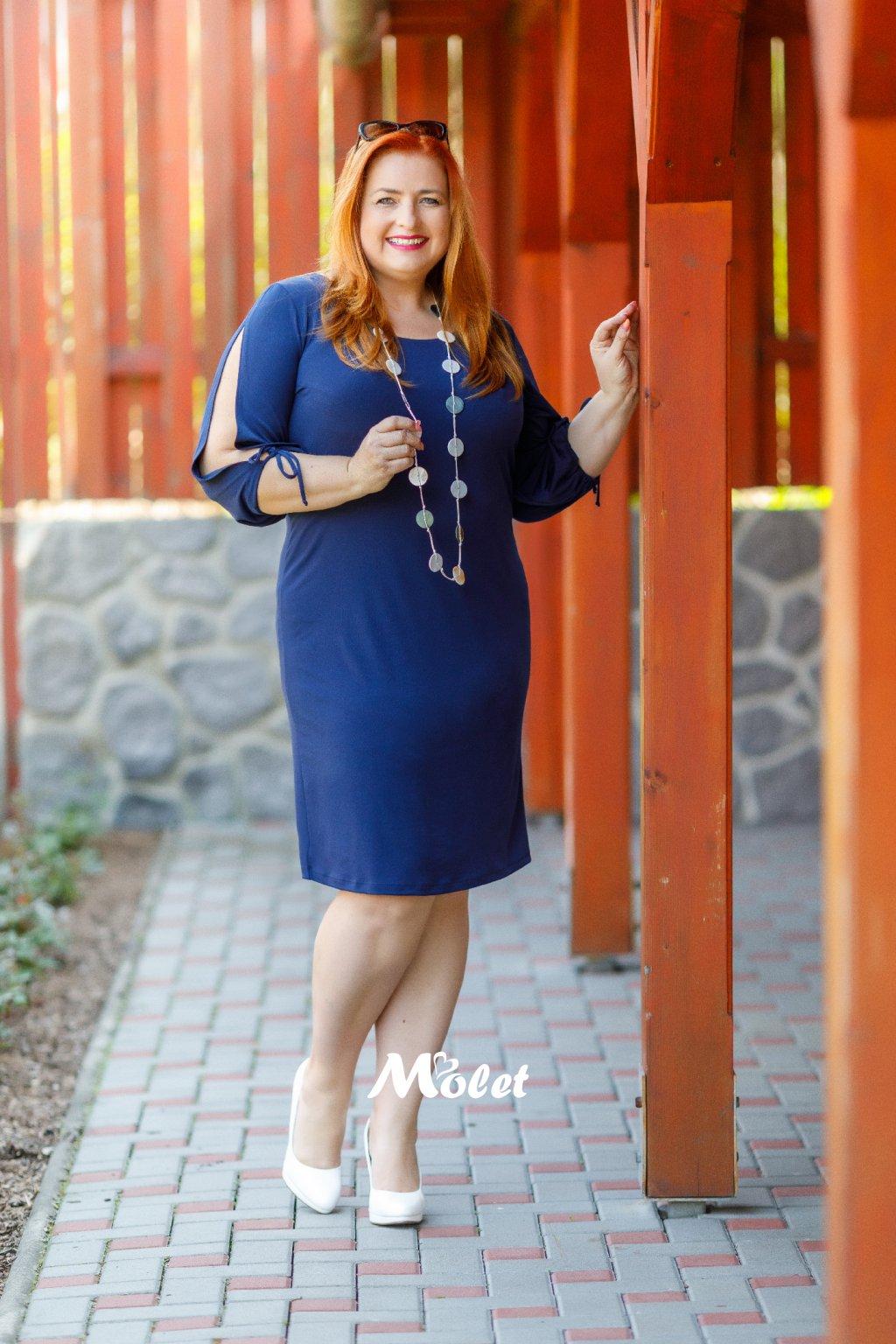 Amélie šaty s průstřihy modré