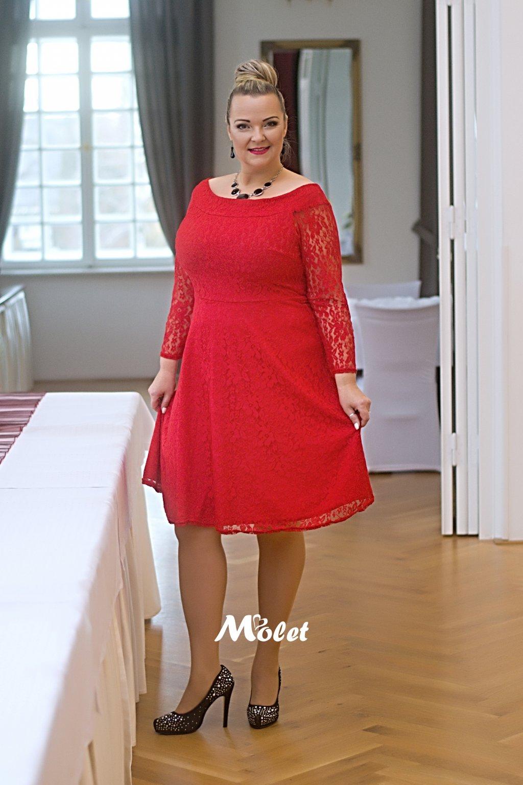 Cosham krajkové šaty červené