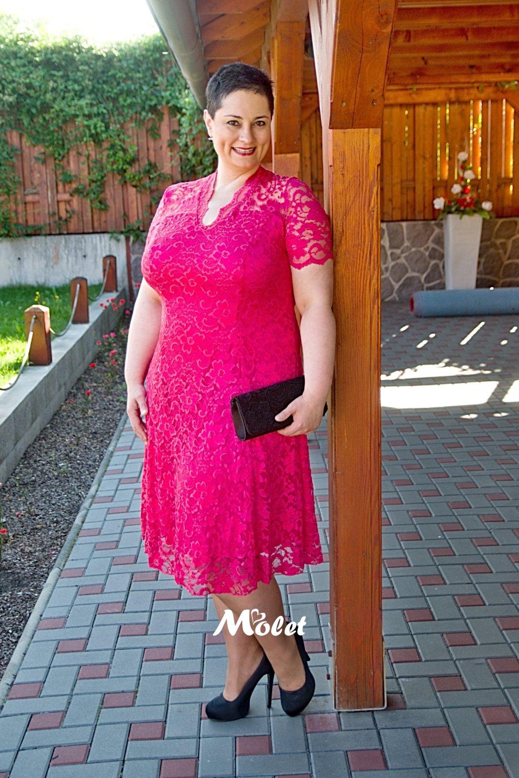 Mitcham krajkové šaty růžové