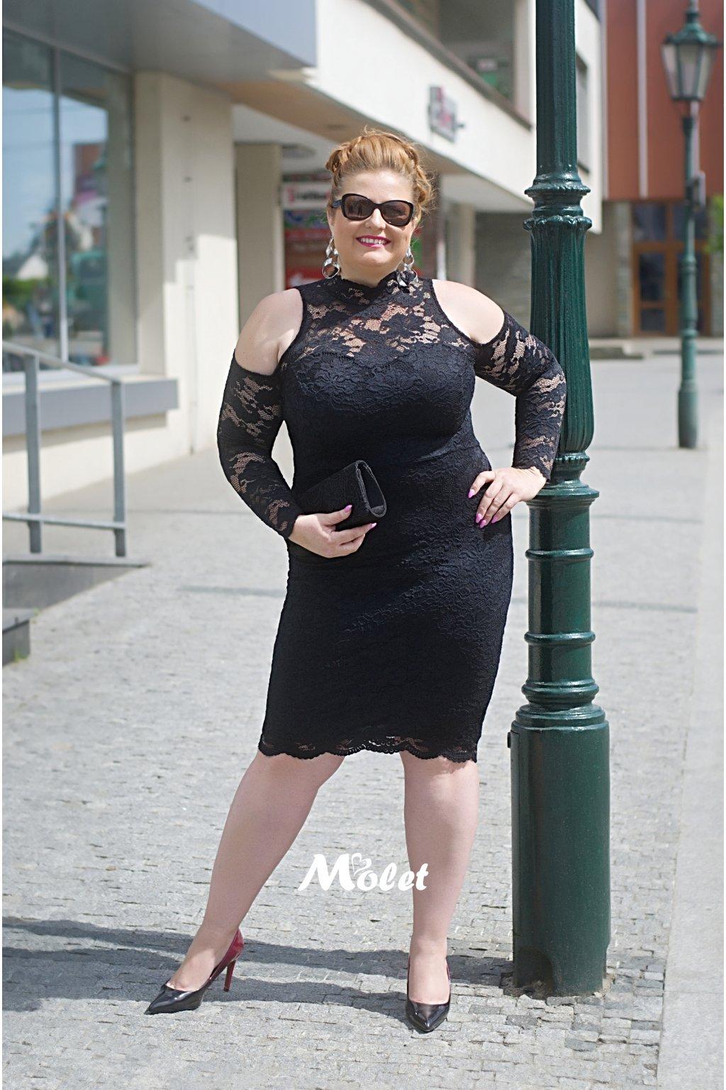 Candy krajkové pouzdrové šaty černé