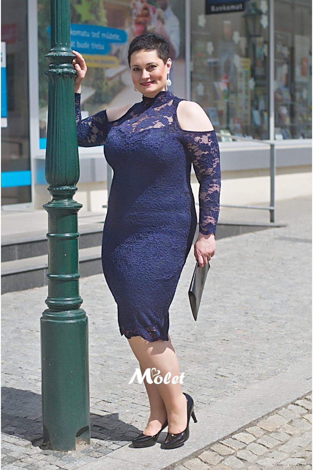 Candy krajkové pouzdrové šaty tmavě modré