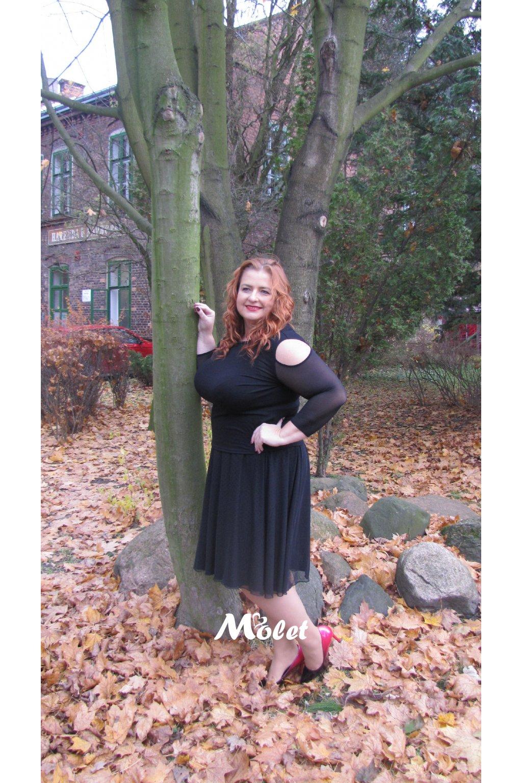 Addison tylová sukně černý puntík