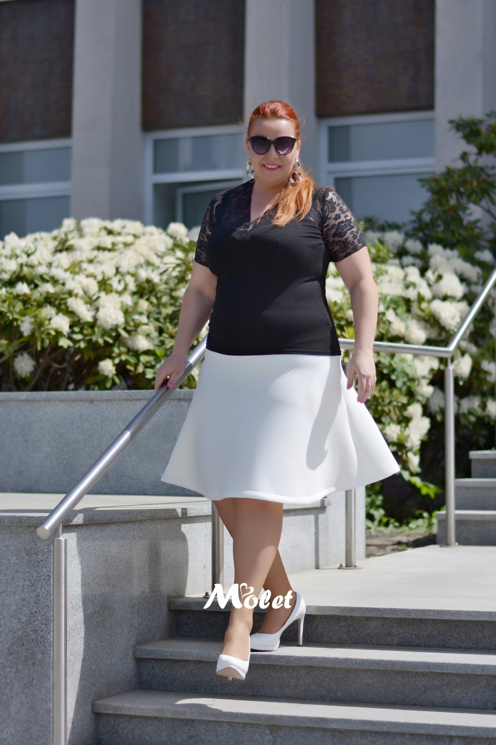 Adeline neoprénová sukně bílá
