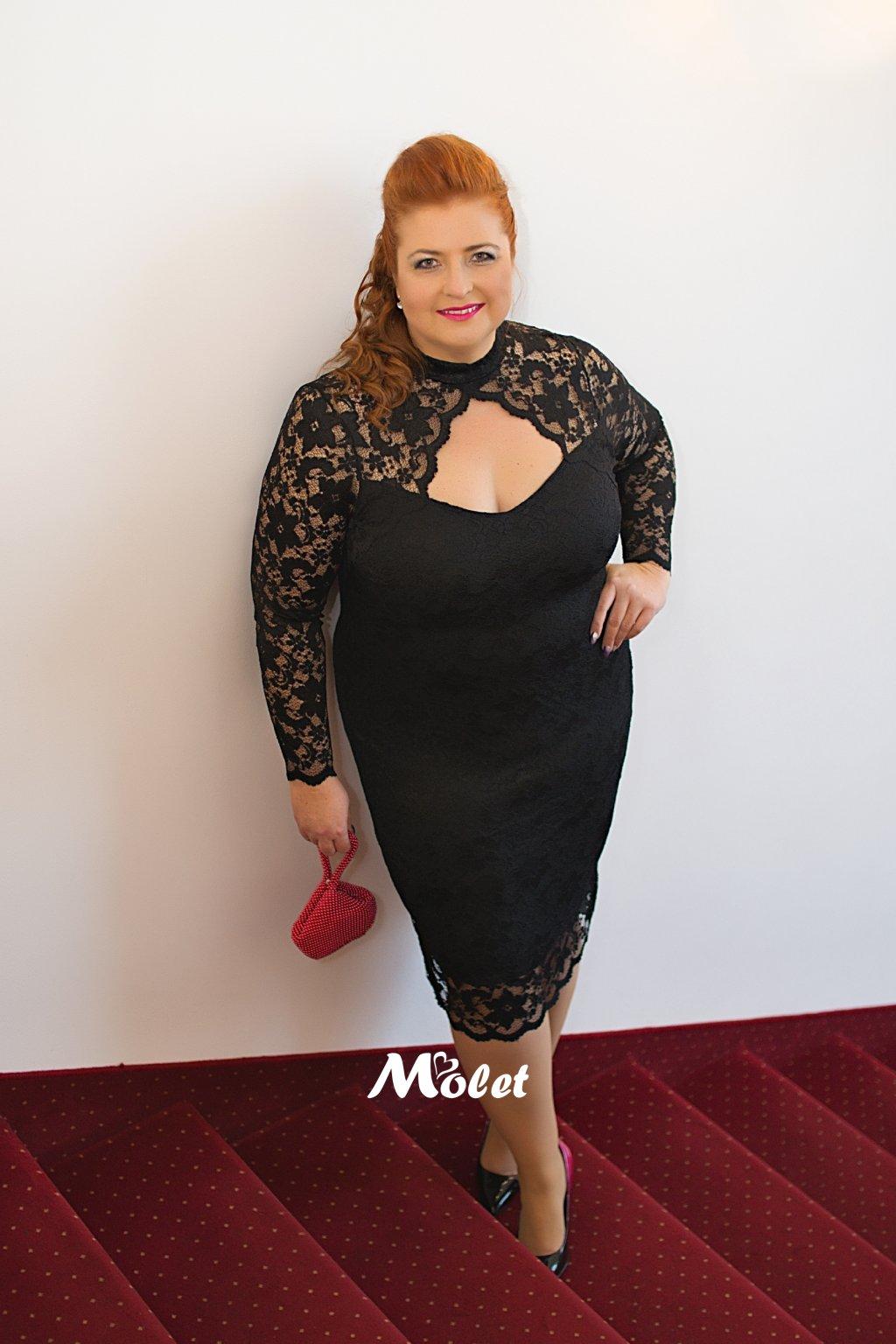 Flame pouzdrové krajkové šaty černé