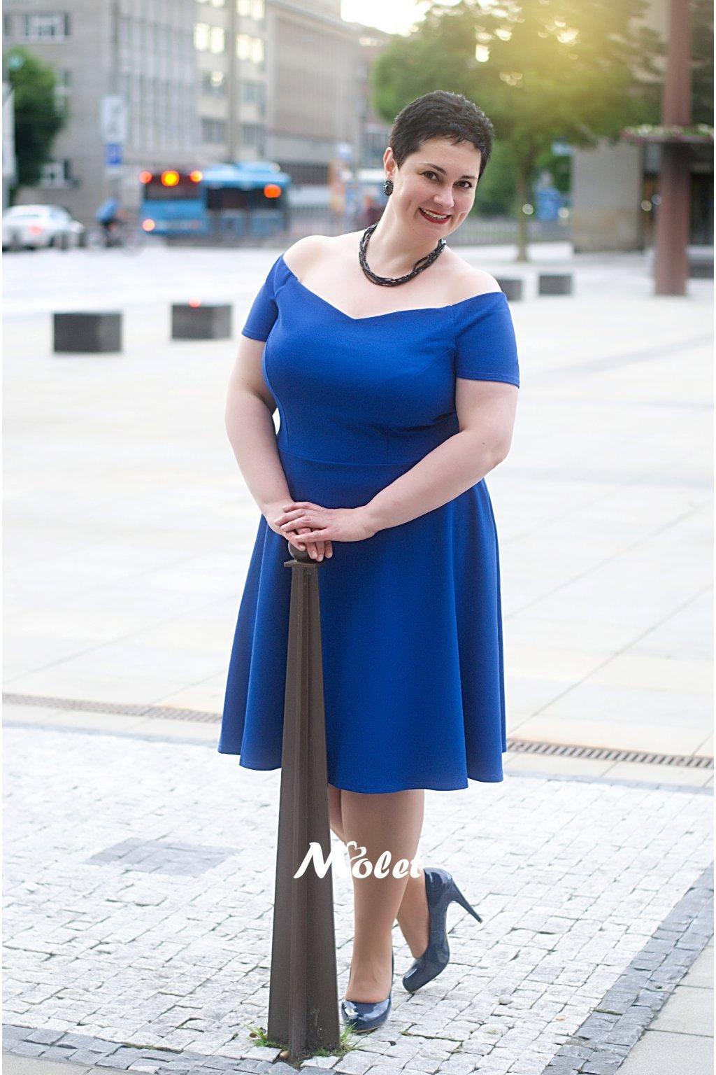 Honey královsky modré šaty s kolovou sukní