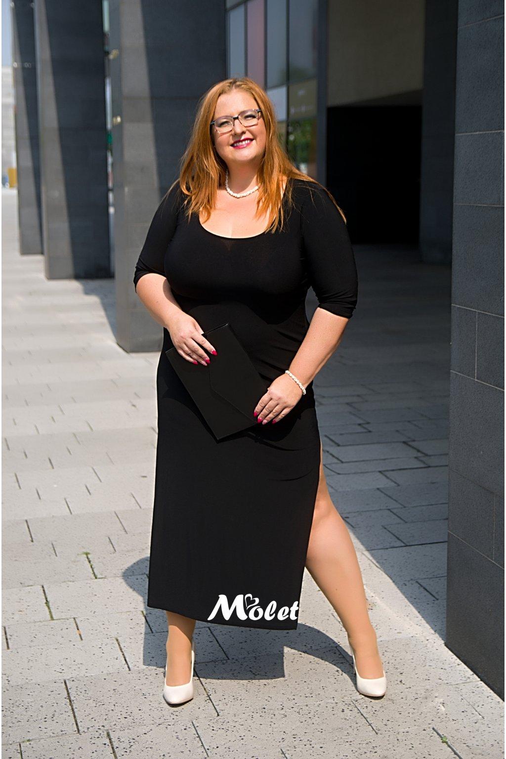 Ewa dlouhé přiléhavé šaty černé