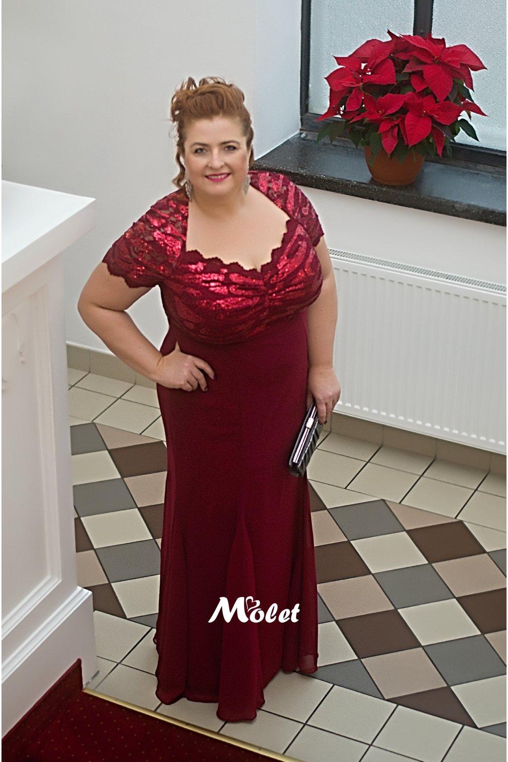 Dakota dlouhé plesové šaty vínové