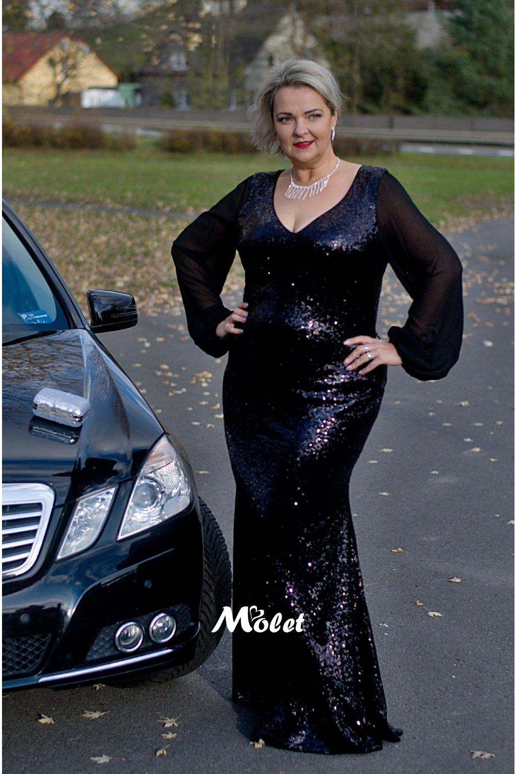 Sofi plesové šaty flitrové černé