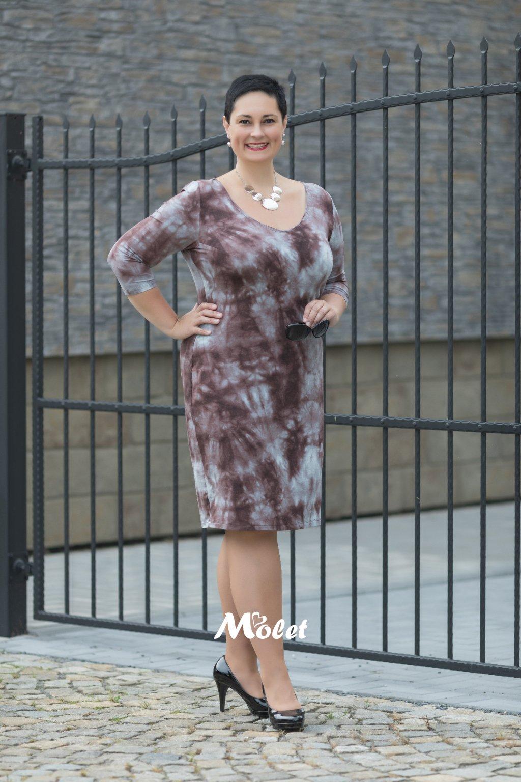 EVELIN šaty pouzdrového střihu batika