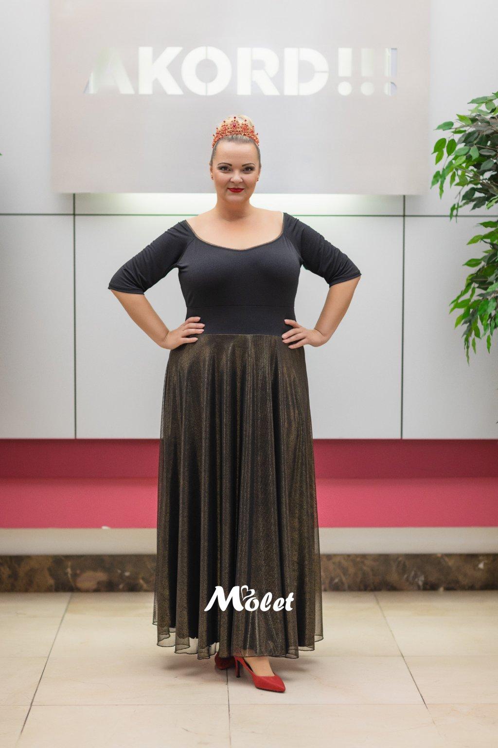Magda dlouhé tylové šaty černo zlaté s leskem