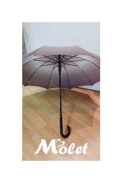 Deštník holový dámský s puntíky hnědý