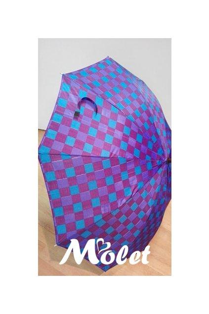 Deštník holový dámský fialové kostky