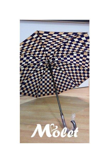 Deštník dámský holový, hnědé kostky