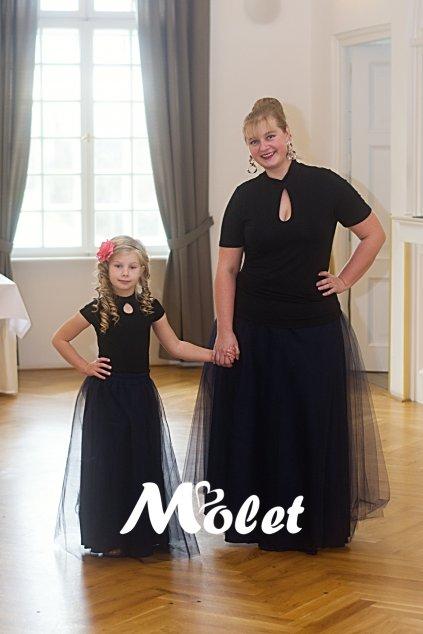 Maxi tylová sukně pro malé holčičky tmavě modrá