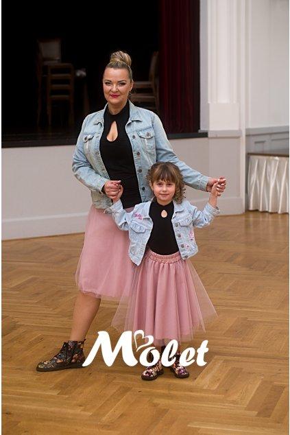 Mini tylová sukně pro malé holčičky pudrová