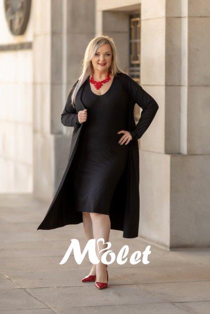 Carol komplet černých pouzdrových šatů a kabátku