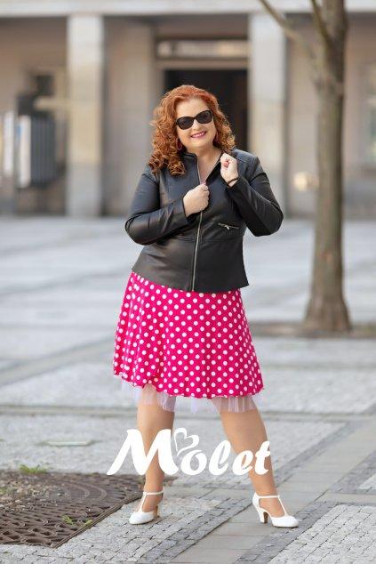 Poly sukně s puntíky růžová