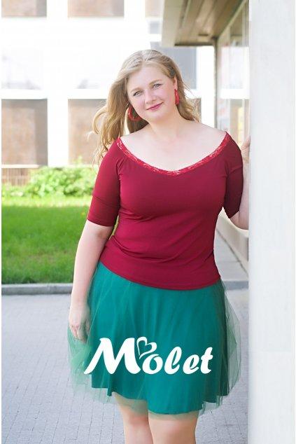 Tylová sukně krátká zelená