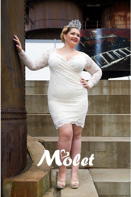 Lopez svatební krajkové šaty smetanové