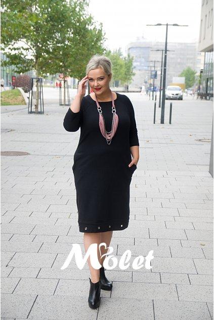 Anita černé šaty s kovovými kroužky