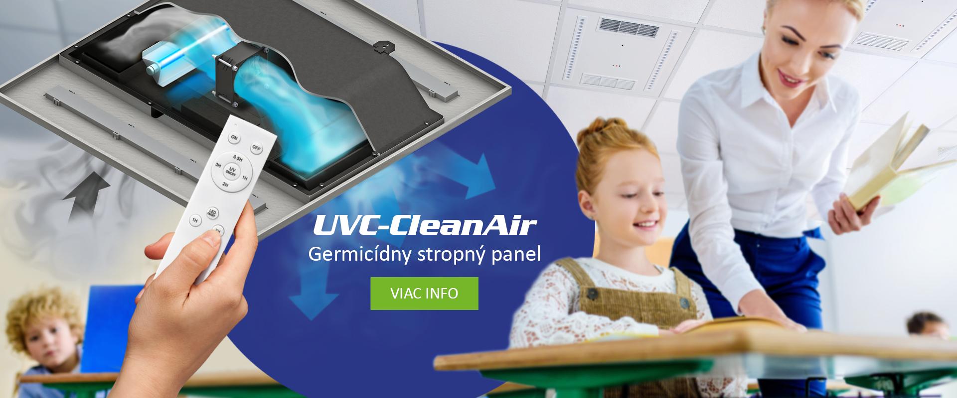UVC-CleanAir; stropný germicídny čistič vzduchu