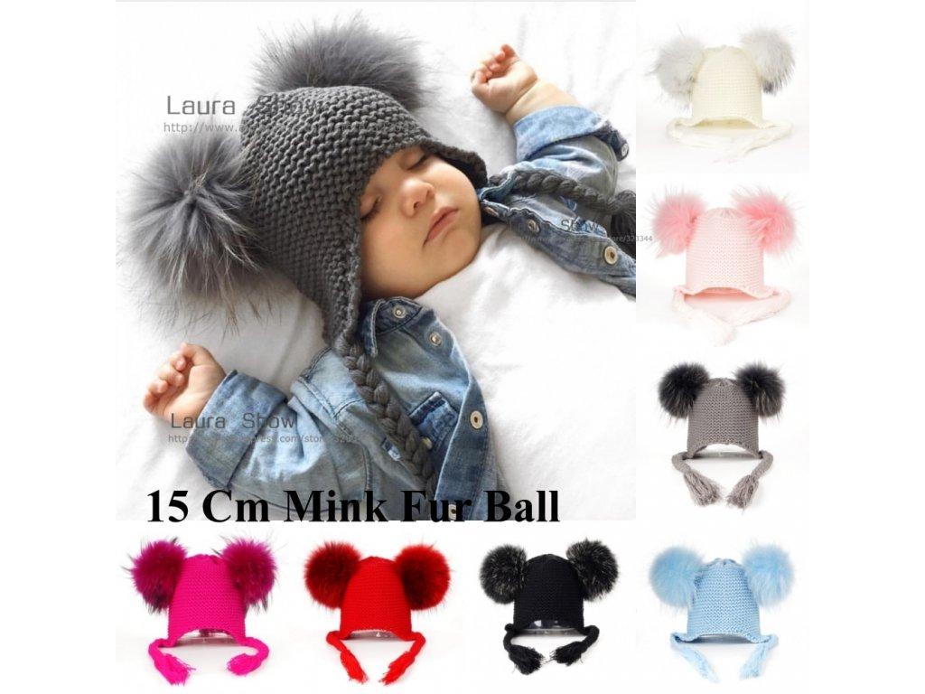 LAURASHOW New Autumn Winter Baby Beanie 16 CM Real Fur Pompoms Warm Sleep  Wool Cap Kids 3492fb77b1