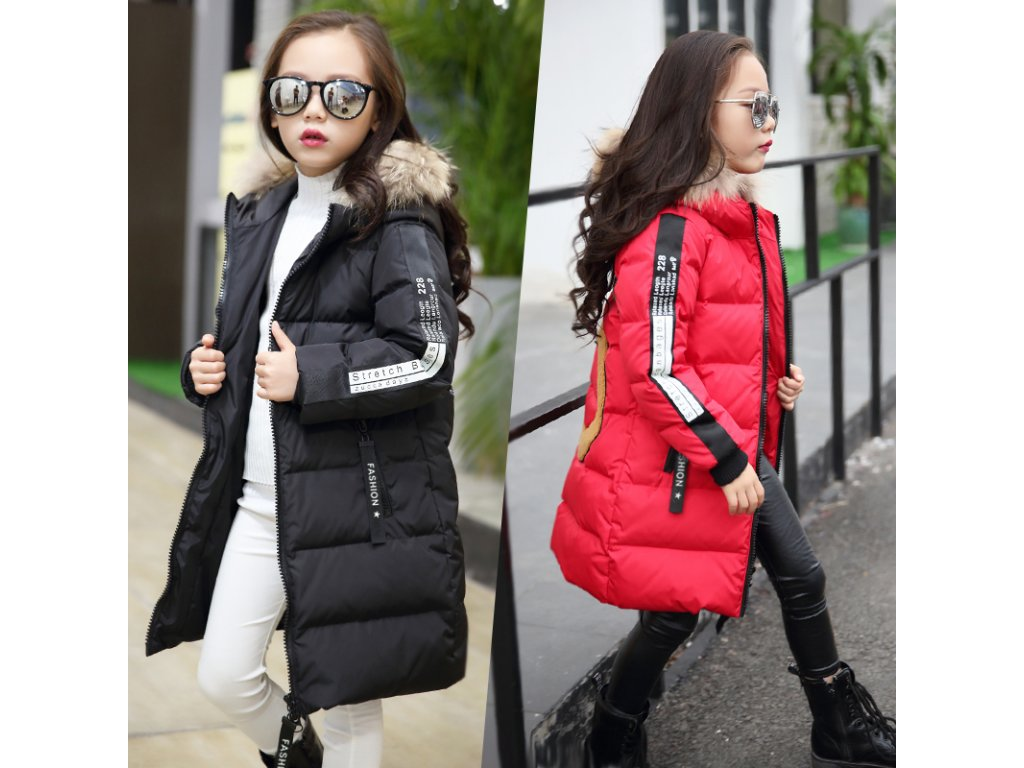 Hot 2018 girls Winter New Cotton Jackets Girls Fashion Fur Collar Letters  Coats Girl Thickening Hooded 34e5998e850