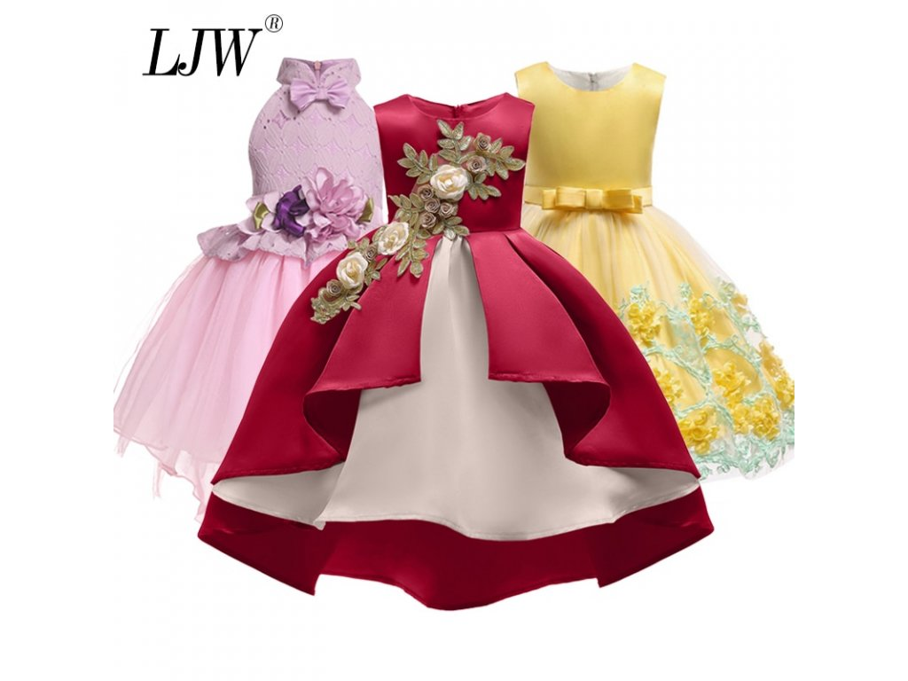 cfa5d40c5 Baby Girl embroidery Silk Princess Dress for Wedding party Kids Dresses for  Toddler Girl Children Fashion