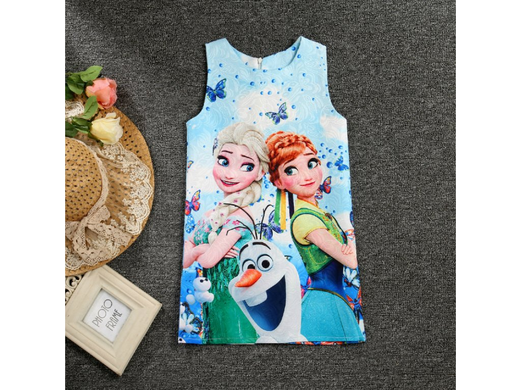 7e799ef82e2b Summer Girls Dress Anna Elsa Dress Party Vestidos Teenagers Butterfly Print  Princess Dress for Girls Elza