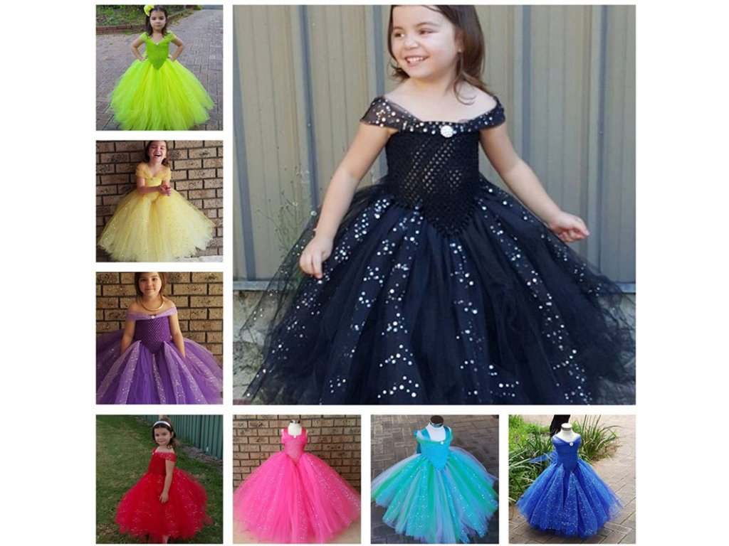 2b7d71c3c25e Glittery Girls Tutu Dress Elsa Belle Princess Dress Girls Party Dresses  Pageant Gowns Baby Kids COS