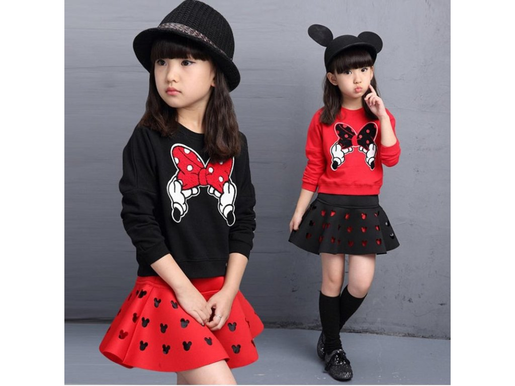 3ba80f02ddab 2019 latest spring and autumn piece fitted girls cartoon bow embroidered  sweater hollow horn skirt suit