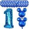 13pcs Mickey Minnie Number 1 2 3 4 5 Foil Balloons Set Helium Latex Globos Baby blue 1 a