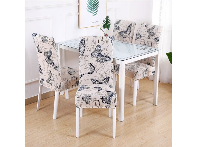 17 Dining Chair Cover Spandex Elastic Pastoral Print Modern Slipcovers Furniture Cover Kitchen Wedding housse de chaise