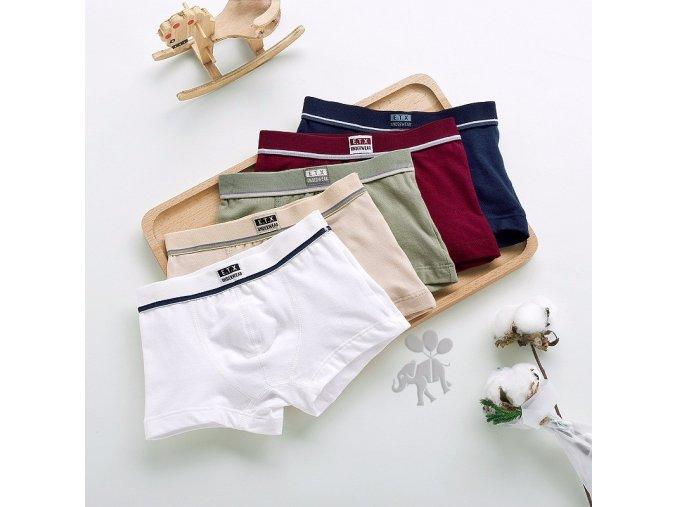 Chlapecké jednobarevné bavlněné boxerky sada 5 ks