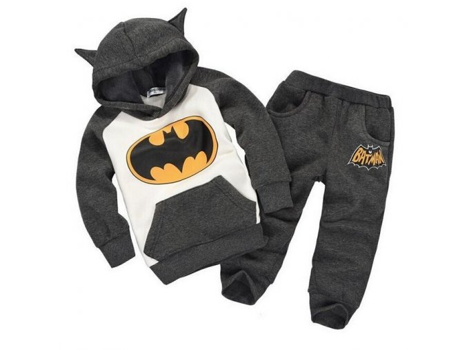 batman set baby boys clothing set children hoodies pants thicken winter warm clothes boys girls sets Gray