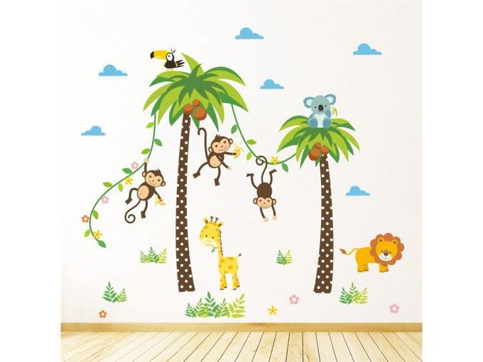 Samolepka Palmy a exotická zvířátka