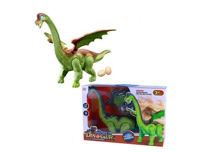 Chodící dinosaurus se zvukem a světlem, s vejci