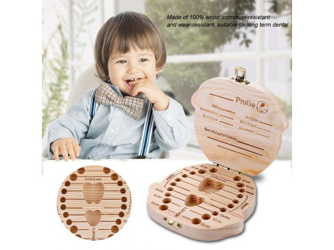 Wooden Storage Box For Baby Kids Tooth Box Organizer Storage Box For Baby Milk Teeth Collect 5