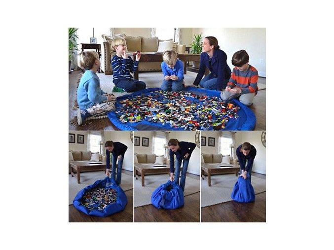 Portable Kids Toy Storage Bag and Play Mat Lego Toys Organizer Bin Box XL Fashion Practical 19