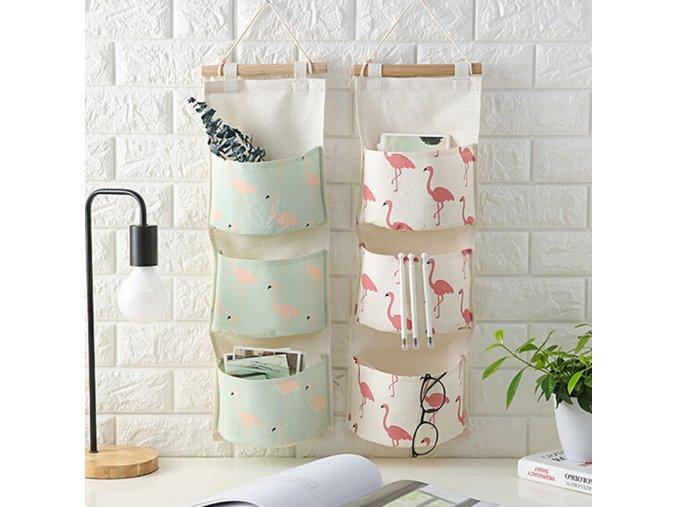 Flamingo Pattern Cotton Linen Hanging Storage Bag 3 Pockets Wall Mounted Wardrobe Hang Bag Wall Pouch 43
