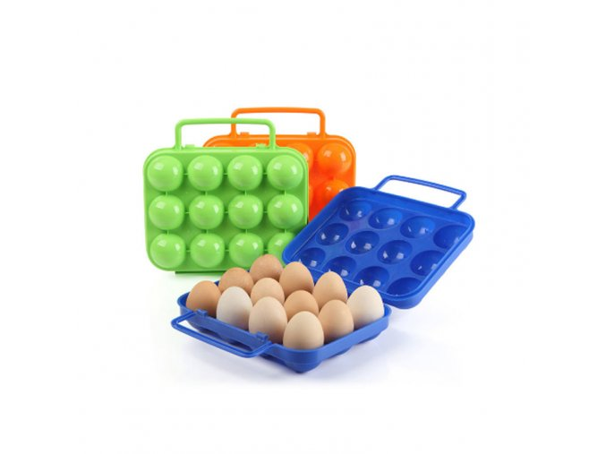 1pc Plastic 12 Grids Portable Camping Picnic Barbecue Outdoor Egg Box Convenient Kitchen Egg Storage Boxes 12