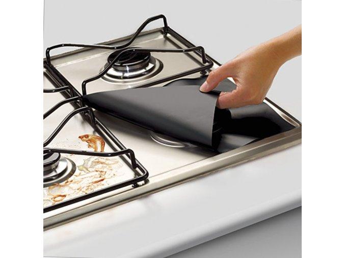 4Pcs set Black Reusable Foil Gas Hob Range Stovetop Burner Protector Liner Cover For Cleaning 31