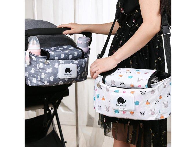 Cute Floral Baby Hanging Basket Stroller Bag Mummy Stroller Travel Nappy Bags Water Bottle Storage Nursing 1