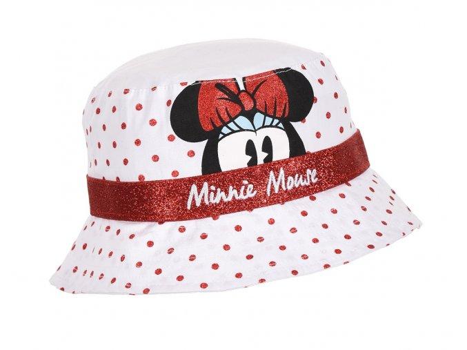 MINNIE MOUSE dívčí klobouček bílý, červené tečky