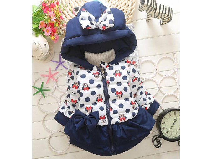 New Girls jackets fashion Minnie cartoon Clothing coat baby girl winter warm and casual Outerwear for Dark blue
