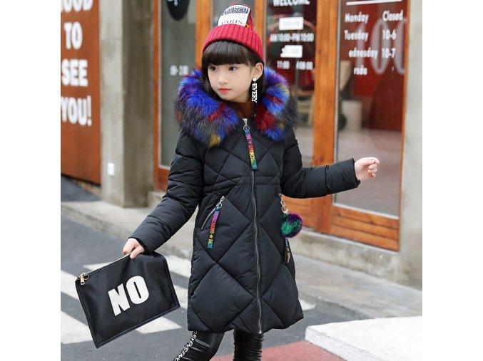 30 degrees Girls Cotton padded Outerwear Coats 2018 Winter Children Warm Clothes fashion multicolour Fur black