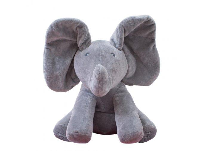 1pc 30cm Singing Elephant bear Electronic music Plush Toy Game Doll Educational soft stuffed anti stress gray