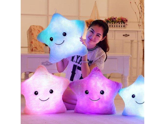 34CM Creative Toy Luminous Pillow Soft Stuffed Plush Glowing Colorful Stars Cushion Led Light Toys Gift 1