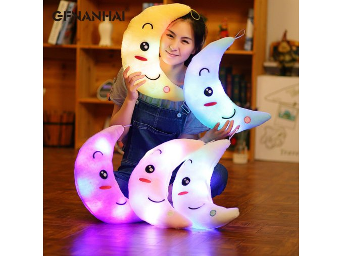 1pc 35cm Luminous Moon Plush toy Creative LED Lighting Colorful Pillow Stuffed Glowing Toys for Home 1
